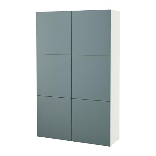 Ikea Hochstuhl Antilop Tablett ~ BESTÅ Aufbewahrung mit Türen  weiß Valviken grautürkis  IKEA