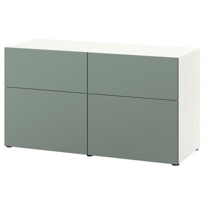 BESTÅ Aufbewkomb.+Türen/Schubladen weiß/Notviken graugrün 120 cm 42 cm 65 cm