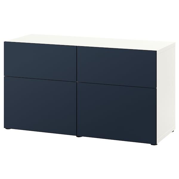 BESTÅ Aufbewkomb.+Türen/Schubladen Eicheneff wlas/Notviken blau 120 cm 42 cm 65 cm