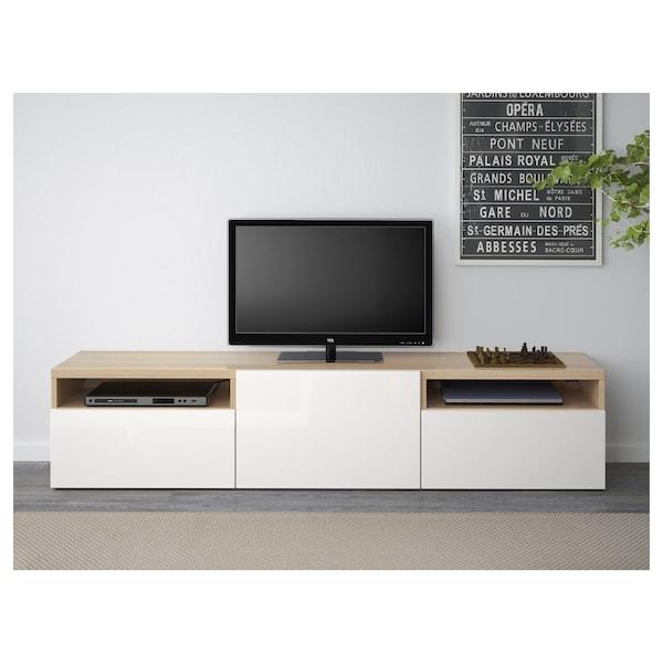 BESTÅ TV-Bank, Eicheneff wlas/Selsviken Hochglanz/weiß, 180x42x39 cm