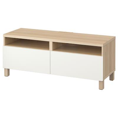 BESTÅ TV-Bank mit Schubladen, Eicheneff wlas/Lappviken weiß, 120x42x48 cm