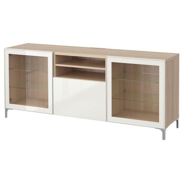 BESTÅ TV-Bank mit Schubladen, Eicheneff wlas/Selsviken Hochglanz/Klarglas weiß, 180x40x74 cm