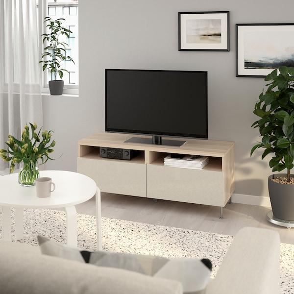 BESTÅ TV-Bank mit Schubladen, Eicheneff wlas/Selsviken/Stallarp Hochglanz beige, 120x42x48 cm