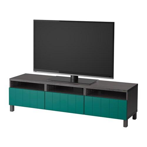 best tv bank mit schubladen schwarzbraun hallstavik blaugr n schubladenschiene drucksystem. Black Bedroom Furniture Sets. Home Design Ideas