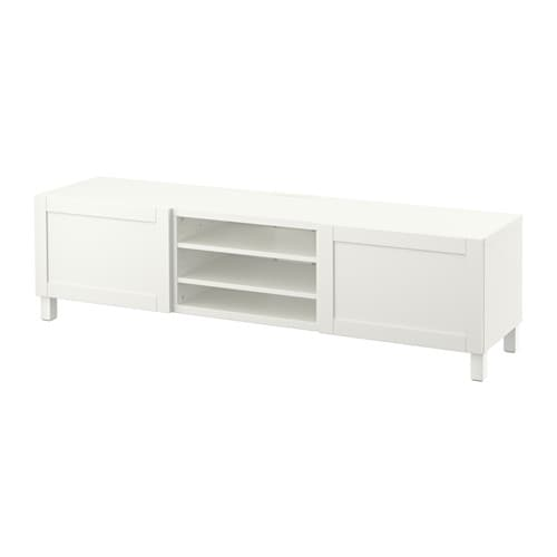 best tv bank mit schubladen hanviken wei schubladenschiene sanft schlie end ikea. Black Bedroom Furniture Sets. Home Design Ideas