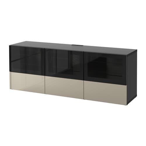 best tv bank mit t ren und schubladen schwarzbraun selsviken hochgl beige klargl. Black Bedroom Furniture Sets. Home Design Ideas