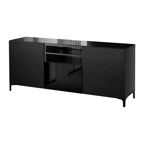 best tv bank laxviken schwarz selsviken hochglanz schwarz schubladenschiene drucksystem ikea. Black Bedroom Furniture Sets. Home Design Ideas