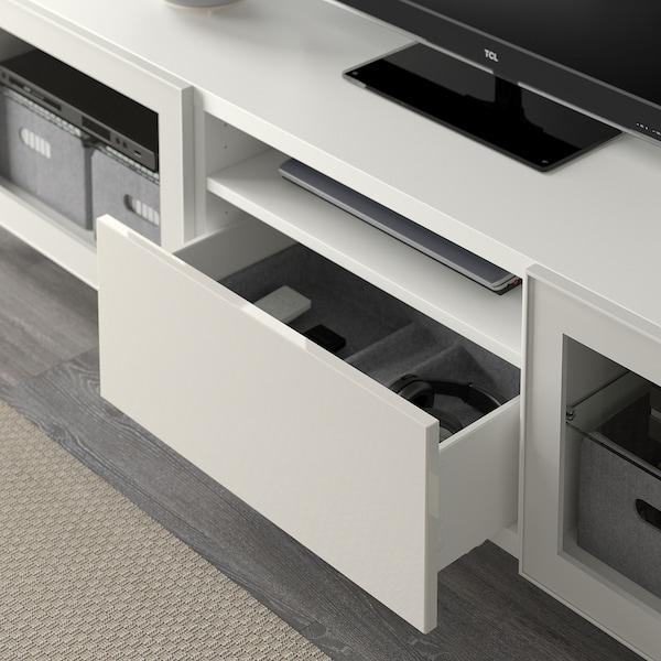 BESTÅ TV-Bank, weiß/Selsviken/Nannarp Hochglanz/Klarglas weiß, 180x42x48 cm
