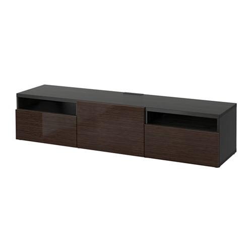 best tv bank schwarzbraun selsviken hochglanz braun schubladenschiene sanft schlie end ikea. Black Bedroom Furniture Sets. Home Design Ideas