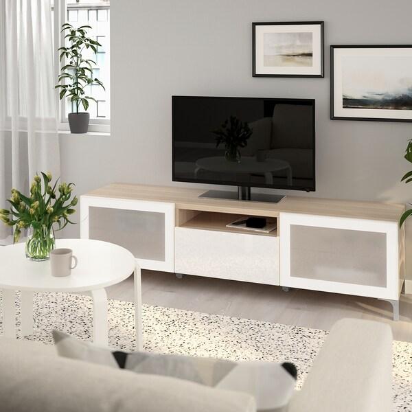 BESTÅ TV-Bank Eicheneff wlas/Selsviken/Nannarp Hochglanz/Frostglas weiß 180 cm 42 cm 48 cm 50 kg