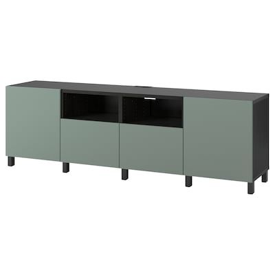 BESTÅ TV-Bank mit Türen und Schubladen schwarzbraun/Notviken/Stubbarp graugrün 240 cm 42 cm 74 cm