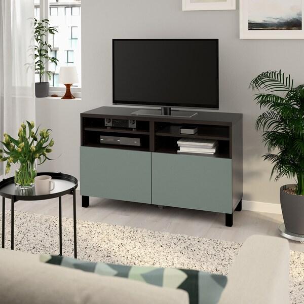 BESTÅ TV-Bank mit Türen schwarzbraun/Notviken/Stubbarp graugrün 120 cm 42 cm 74 cm 50 kg