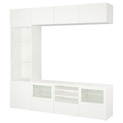 BESTÅ TV-Komb. mit Vitrinentüren, Lappviken/Sindvik Klarglas weiß, 240x40x230 cm