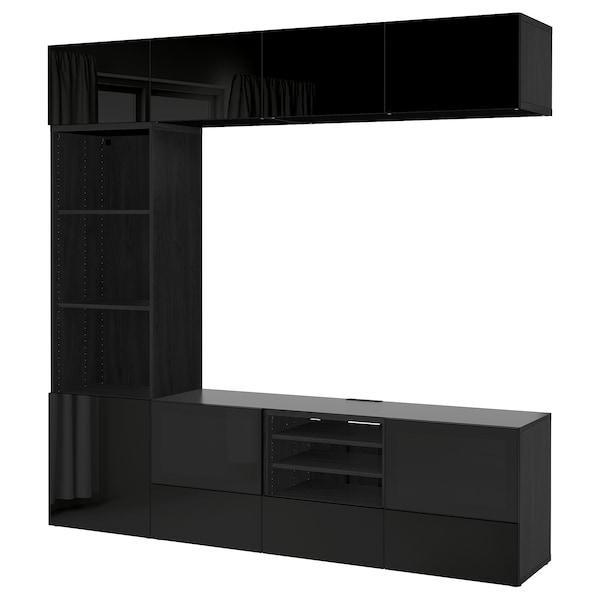 BESTÅ TV-Komb. mit Vitrinentüren, schwarzbraun/Selsviken Hochglanz/Rauchglas schwarz, 240x40x230 cm
