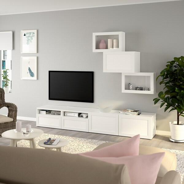 BESTÅ TV-Komb. mit Vitrinentüren, weiß/Hanviken Klarglas weiß, 240x42x190 cm