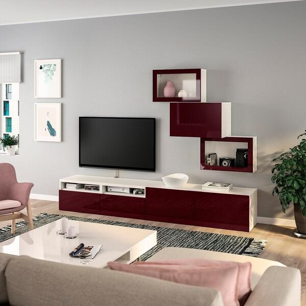 BESTÅ TV-Komb. mit Vitrinentüren weiß Selsviken/dunkel rotbraun Klarglas 240 cm 42 cm 190 cm