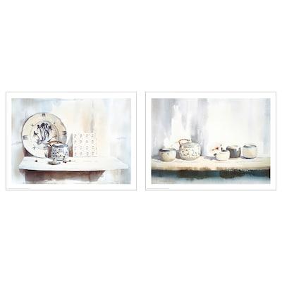 BILD Bild, blaue und weiße Keramik, 40x30 cm