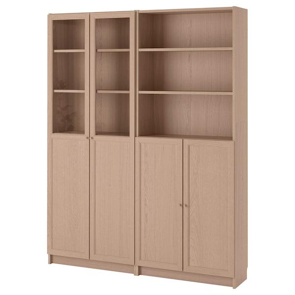 BILLY / OXBERG Bücherregal mit Paneel-/Vitrtüren Eichenfurnier weiß lasiert 160 cm 30 cm 202 cm 30 kg