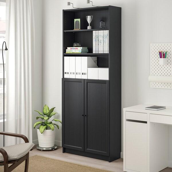 BILLY / OXBERG Bücherregal mit Türen, schwarzbraun, 80x30x202 cm