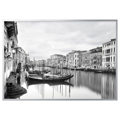 BJÖRKSTA Gerahmtes Bild, Canal Grande/aluminiumfarben, 200x140 cm