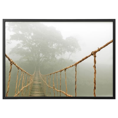 BJÖRKSTA Gerahmtes Bild, Dschungelreise/schwarz, 140x100 cm