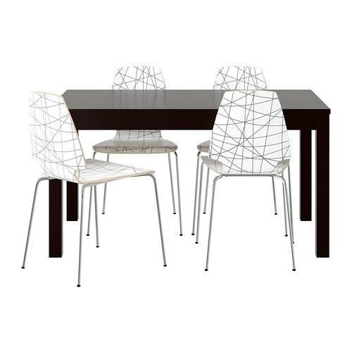Ikea Unterschrank Gefrierschrank ~ BJURSTA  VILMAR Tisch und 4 Stühle Ausziehbarer Esstisch mit 2