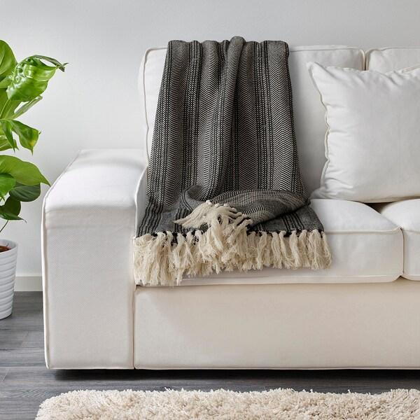 BOLLMÅRA Plaid, dunkelgrau/weiß, 150x200 cm