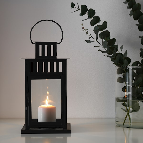 BORRBY Laterne für Blockkerze, drinnen/draußen schwarz, 28 cm