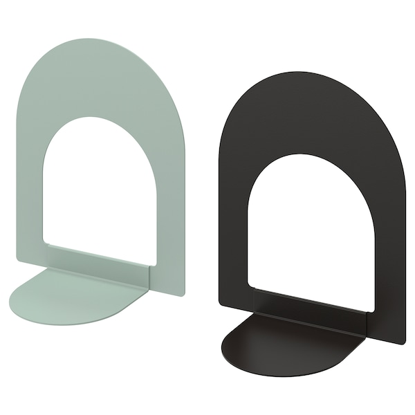 BOTTNA Buchstütze hell graugrün/anthrazit 13 cm 15 cm 2 Stück