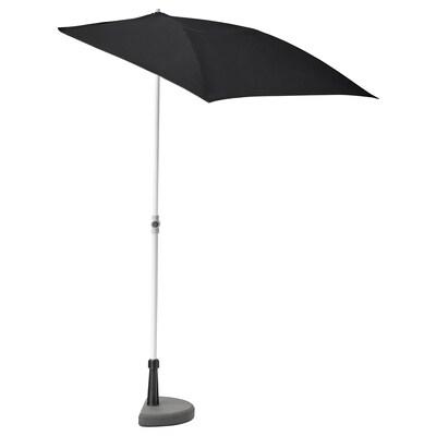 BRAMSÖN / FLISÖ Sonnenschirm mit Ständer, schwarz