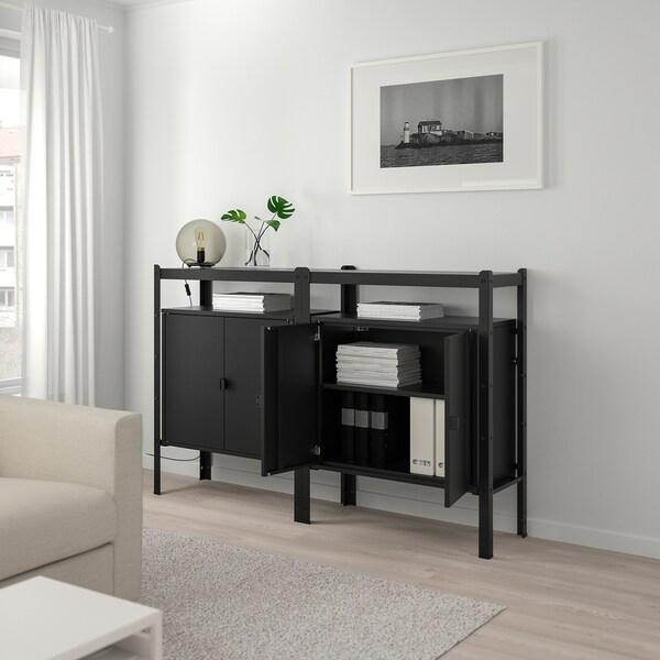 BROR Regal mit Schrank, schwarz, 170x40x110 cm