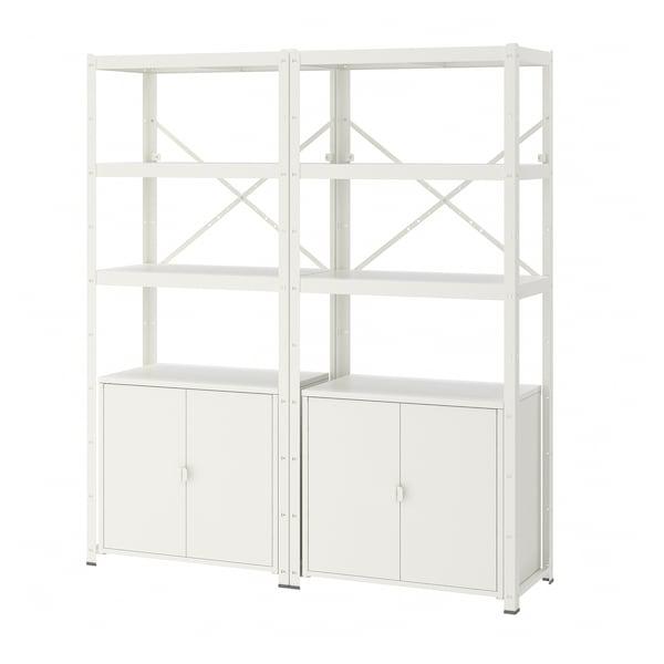 BROR Regal mit Schrank, weiß, 170x40x190 cm
