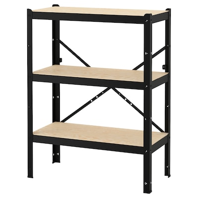 BROR Regal, schwarz/Holz, 85x40x110 cm