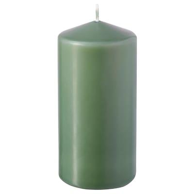 DAGLIGEN Blockkerze duftneutral, grün, 14 cm