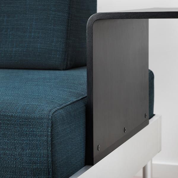 DELAKTIG 3er-Sofa mit Ablage und Leuchte Hillared dunkelblau 79 cm 224 cm 84 cm 45 cm 20 cm 200 cm 80 cm 45 cm 10 cm 1.9 m 3.4 W