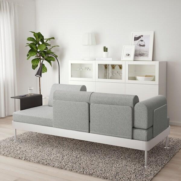 DELAKTIG 3er-Sofa mit Ablage und Leuchte Tallmyra weiß/schwarz 79 cm 224 cm 84 cm 45 cm 20 cm 200 cm 80 cm 45 cm 10 cm 1.9 m 3.4 W