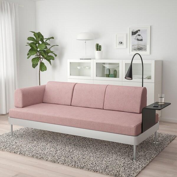 DELAKTIG 3er-Sofa mit Ablage und Leuchte Gunnared hell braunrosa 79 cm 224 cm 84 cm 45 cm 20 cm 200 cm 80 cm 45 cm 10 cm 1.9 m 3.4 W