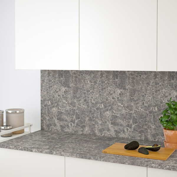 EKBACKEN Maßarbeitsplatte, dunkelgrau marmoriert/Laminat, 63.6-125x2.8 cm