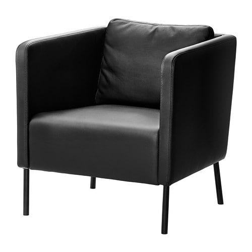 ikea wohnzimmer sessel:IKEA Black Leather Chair