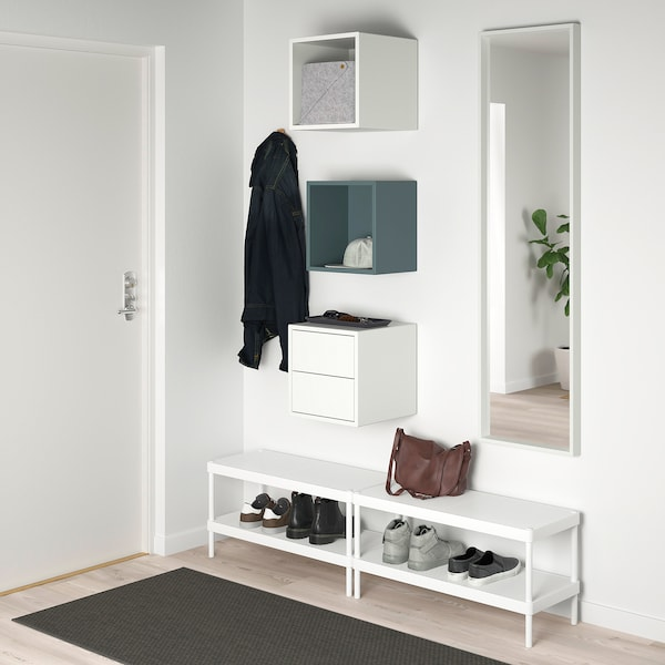 EKET Aufbewahrungskomb. wandmont., grautürkis/weiß, 105x35x70 cm