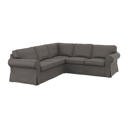 ektorp bezug f r ecksofa 2 2 nordvalla grau ikea. Black Bedroom Furniture Sets. Home Design Ideas