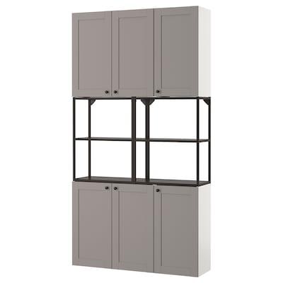 ENHET Aufbewkombi für Wand, anthrazit/grau Rahmen, 120x32x225 cm