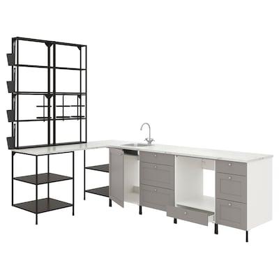 ENHET Eckküche, anthrazit/grau Rahmen