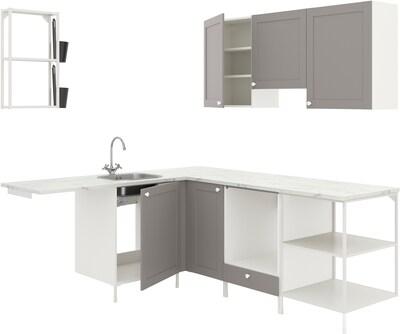 ENHET Eckküche, weiß/grau Rahmen