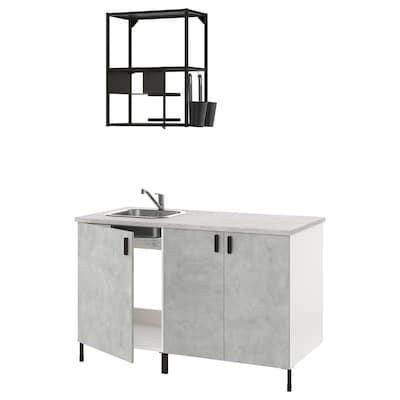 ENHET Küche, anthrazit/Betonmuster, 143x63.5x222 cm