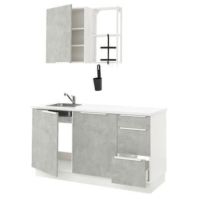 ENHET Küche, weiß/Betonmuster, 163x63.5x222 cm