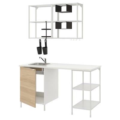 ENHET Küche, weiß/Eichenachbildung, 163x63.5x222 cm