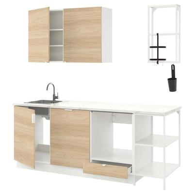 ENHET Küche, weiß/Eichenachbildung, 223x63.5x222 cm