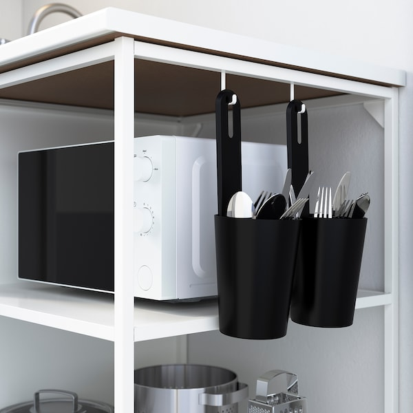 ENHET Küche, weiß/grau Rahmen, 183x63.5x222 cm