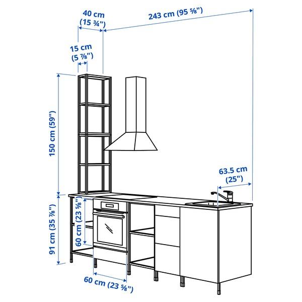 ENHET Küche, weiß, 243x63.5x241 cm